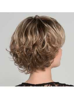 Perruque synthétique mi longue wavy Flair mono- caramel rooted