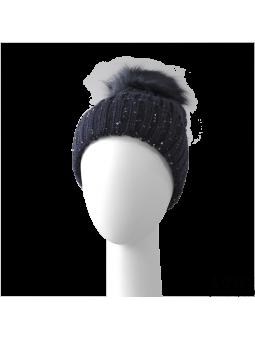 Bonnet Pompom marine