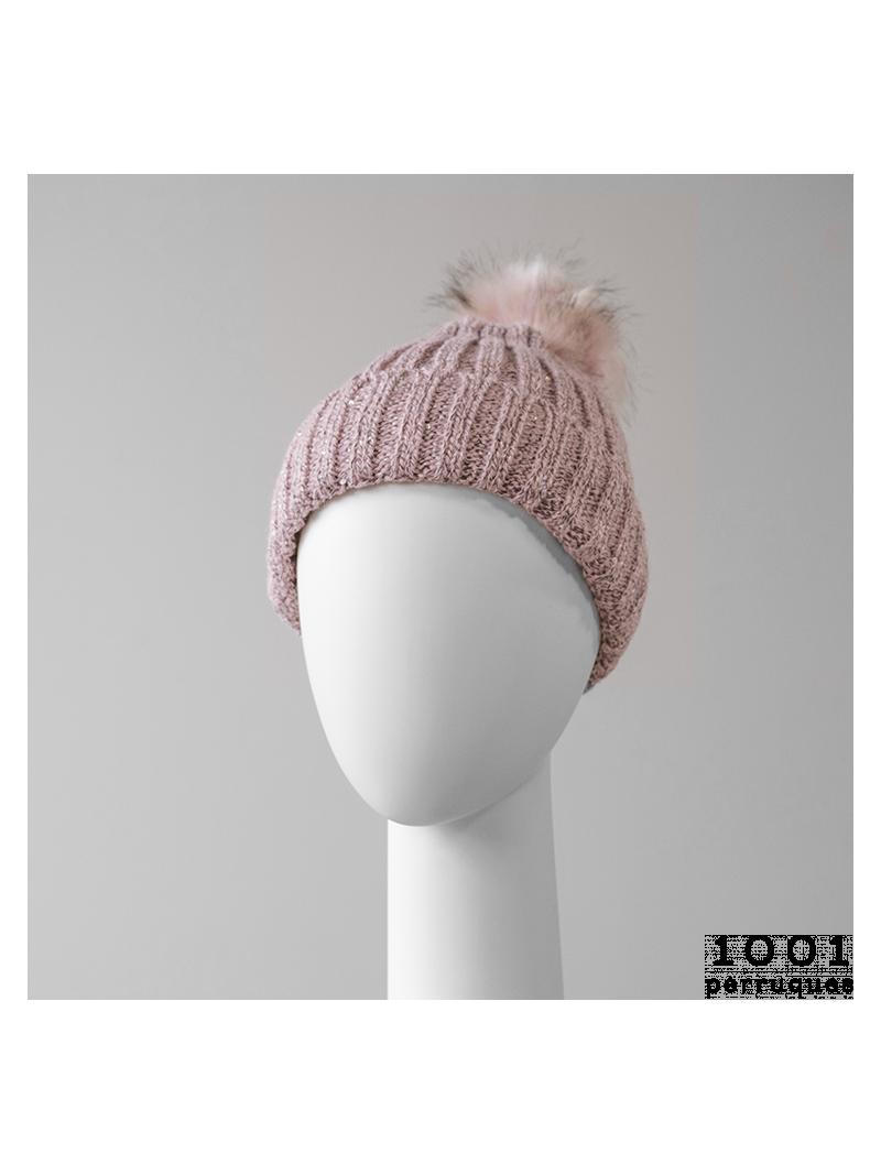 Bonnet Pompom rose