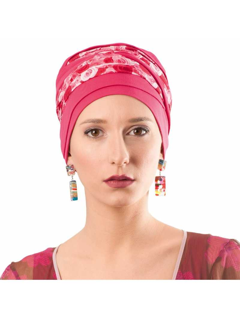 Bonnet chimiothérapie Doris bambou rose framboise