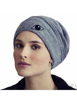 Viva Headwear Bonnet Chimio Gris Kaya Extra Doux avec Le Symbole de l'oeil