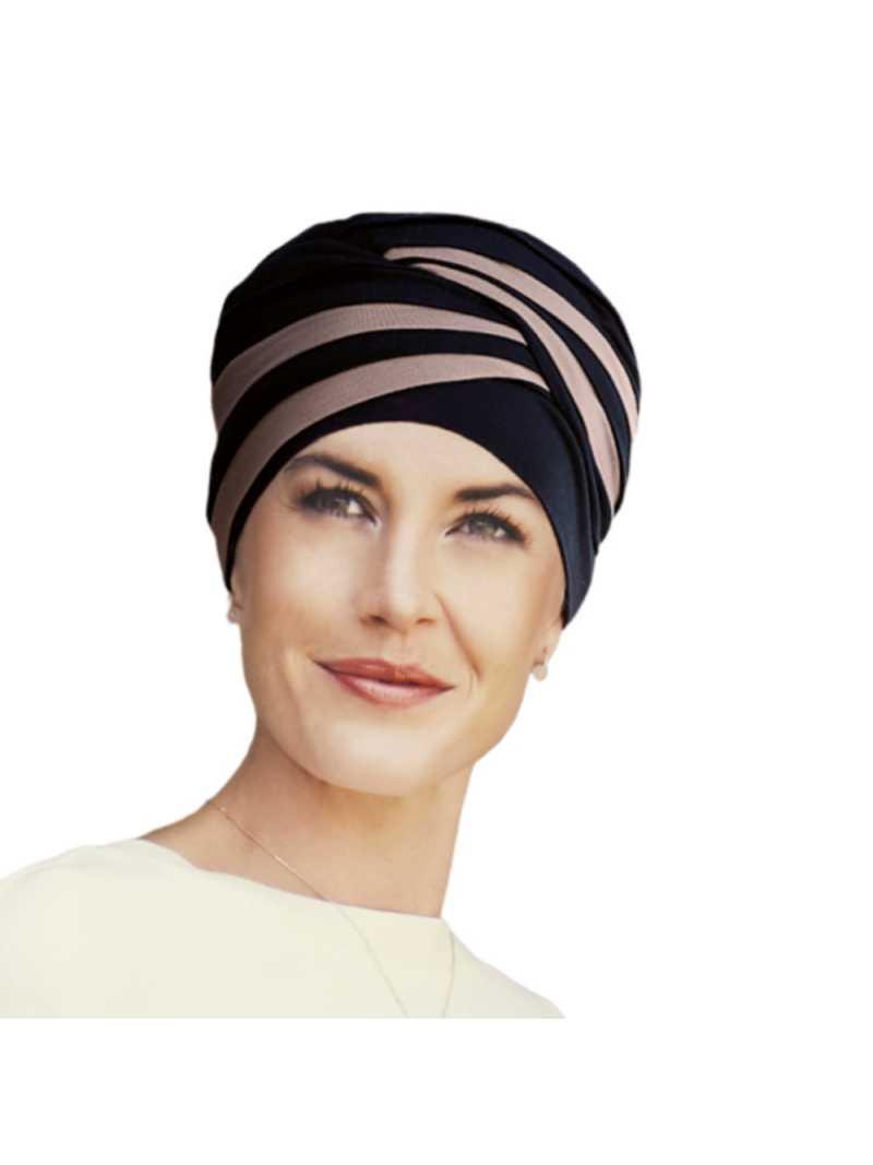 Bonnet chimiothérapie bambou Shanti Hindi noir et marron