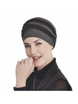 Bonnet chimiothérapie bambou Shanti Hindi noir et gris