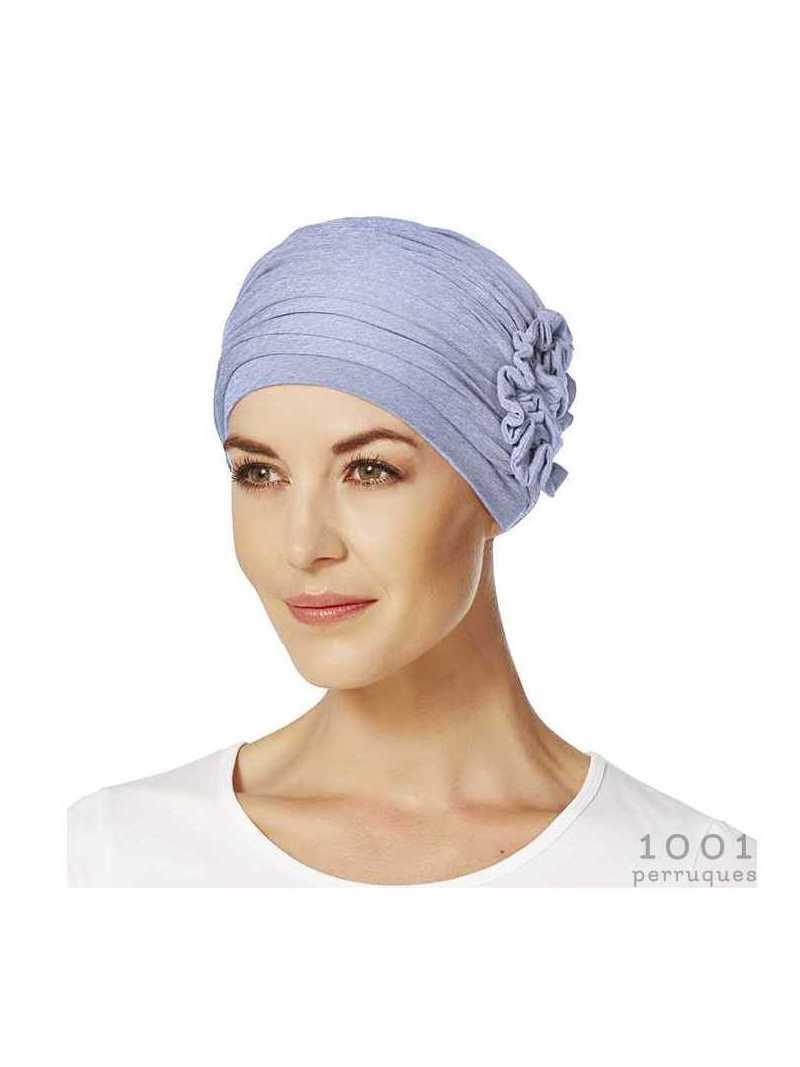 Bonnet chimiothérapie avec fleur en bambou Lotus rêve bleu