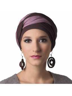 Turban chimiothérapie Leslie brun / rose
