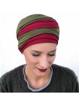 Turban chimiothérapie Leslie bordeaux / kaki