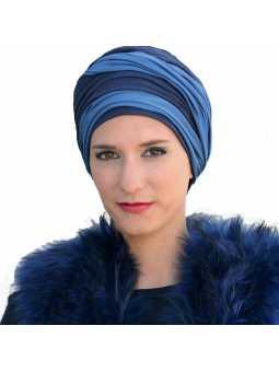 Turban chimiothérapie Leslie bleu / marine
