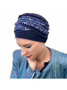 Bonnet chimiothérapie Doris bambou bleu lapiaz