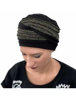 Bonnet chimiothérapie Doris bambou noir doré