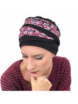 Bonnet chimiothérapie Doris bambou noir fleuri