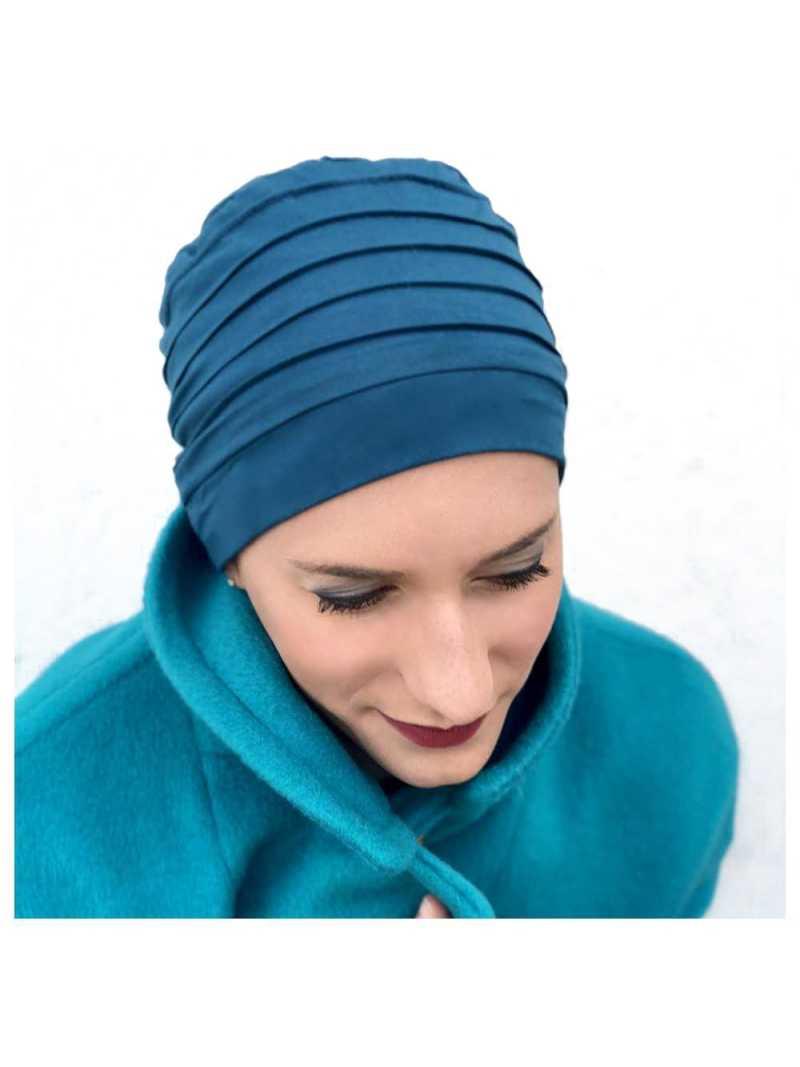 Bonnet chimiothérapie Lola Hiver doublé bleu canard