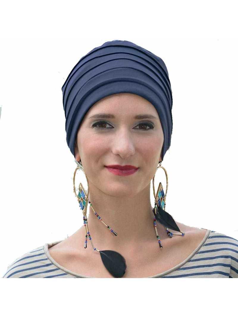 Bonnet chimiothérapie Lola Hiver doublé bleu nuit
