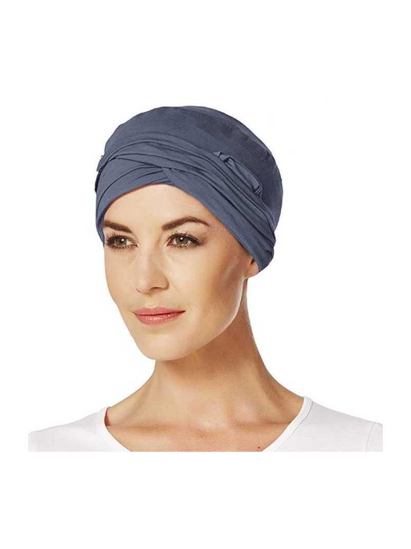 Bonnet chimiothérapie bambou Drapé - bleu ardoise