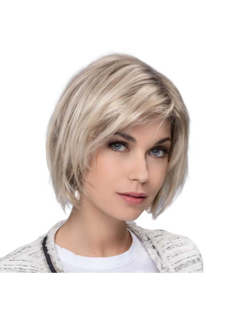 Perruque synthétique mi longue lisse French Sandyblonde rooted
