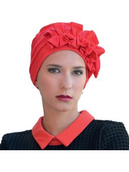 Turban en fibre de bambou Océane rouge