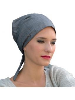 Bandana chimiothérapie 100% coton  - gris denim