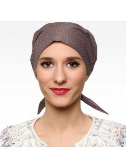 Bandana chimiothérapie 100% coton  - liberty marron
