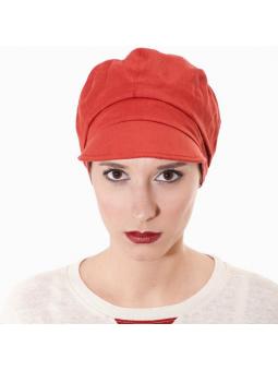 Casquette chimiothérapie Cyril 100%lin  - vermillon