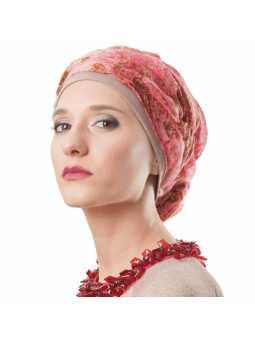 Turban chimiothérapie Suzanne  - marbré rose