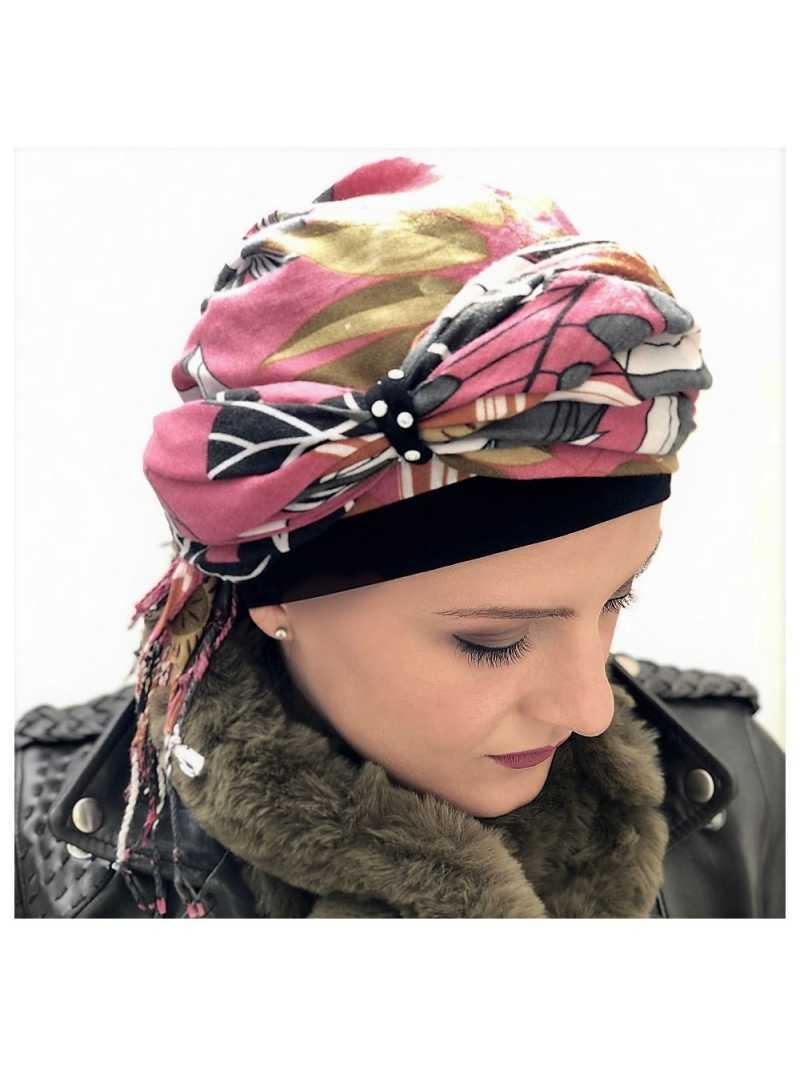 Turban chimiothérapie Marianne - noir/vieux rose