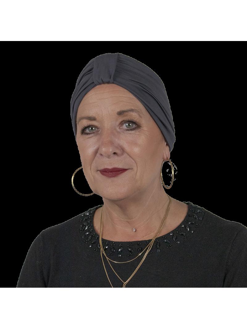 Bonnet de chimiothérapie Lou en bambou gris foncé