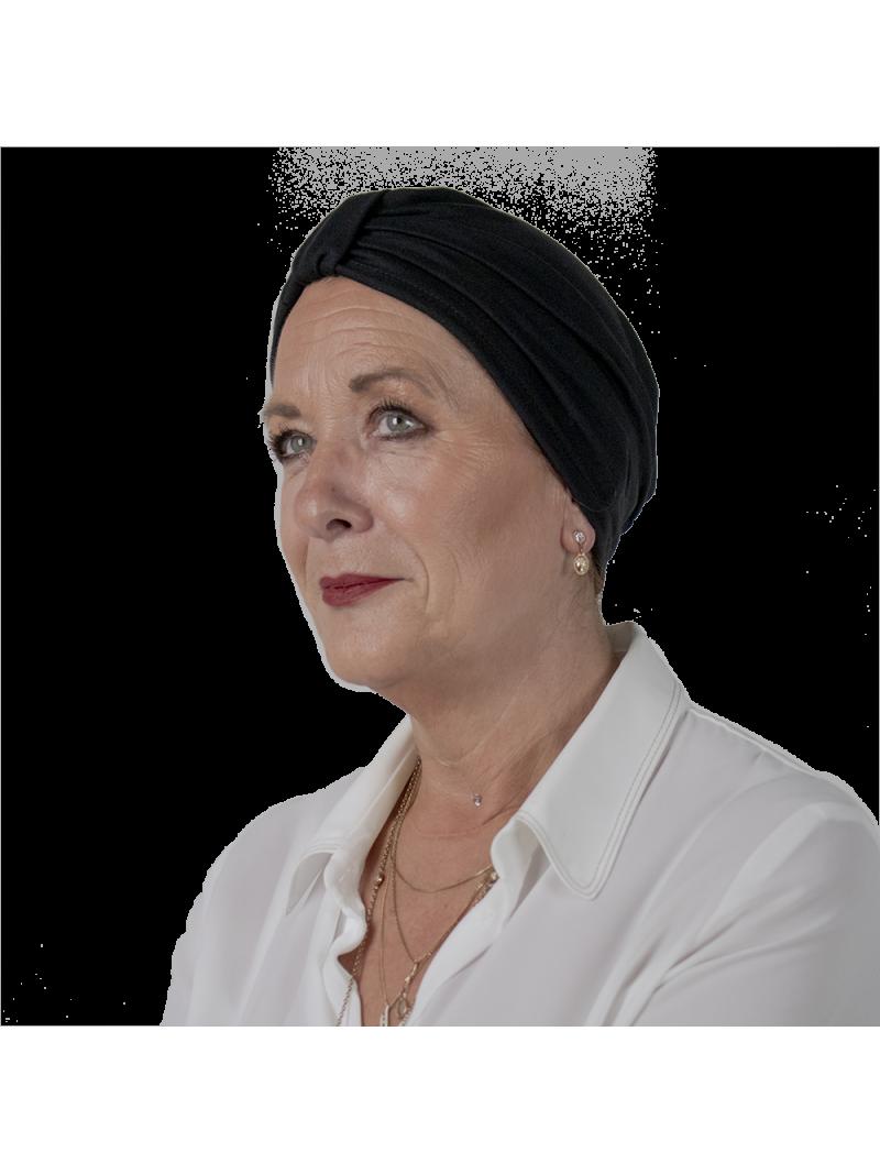 Bonnet de chimiothérapie Lou en bambou noir