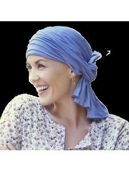 Turban-Foulard Drapé en bambou de chimiothérapie myosotis