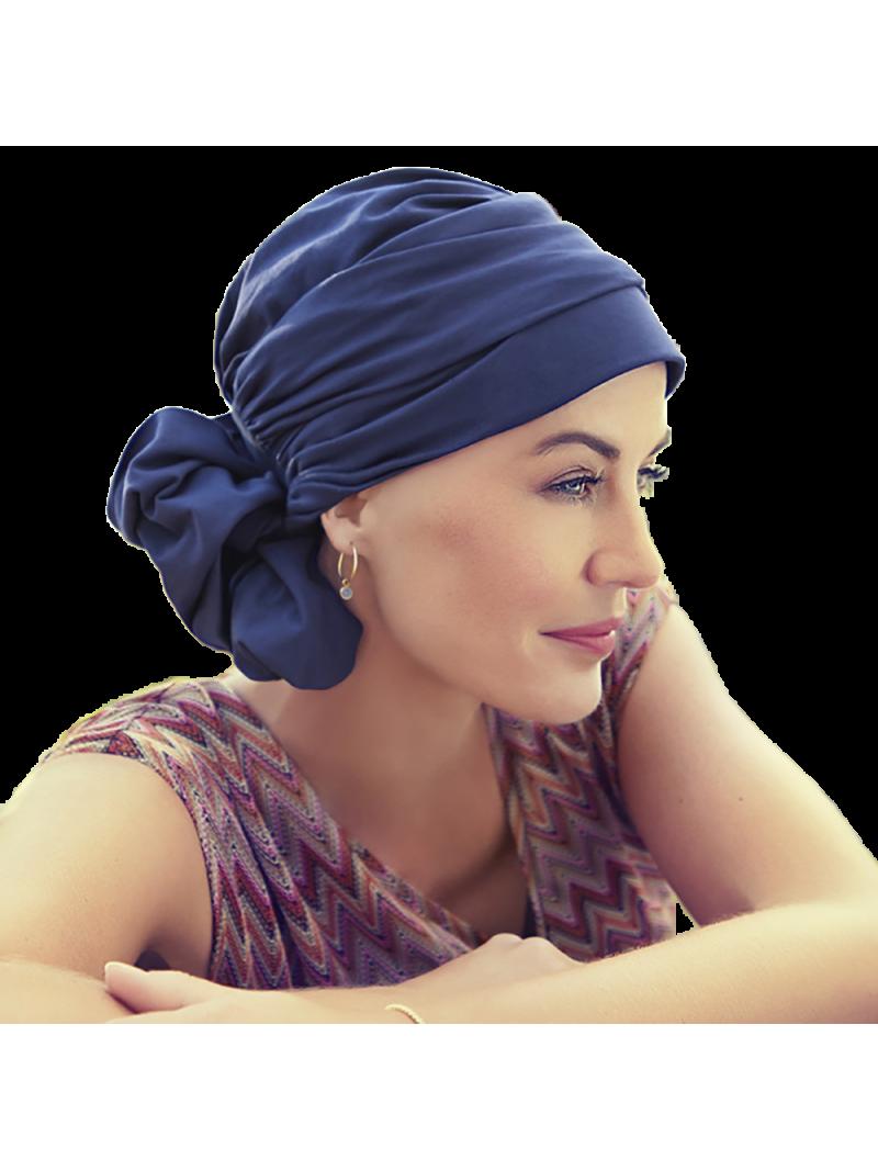 Turban foulard chimiothérapie Mila en coton navy