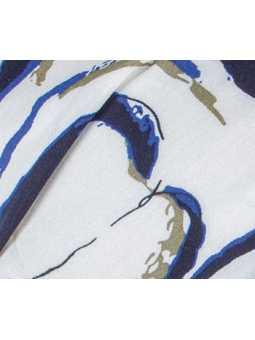 Fichu bandana chimiothérapie Misu Ellen Wille - White blue
