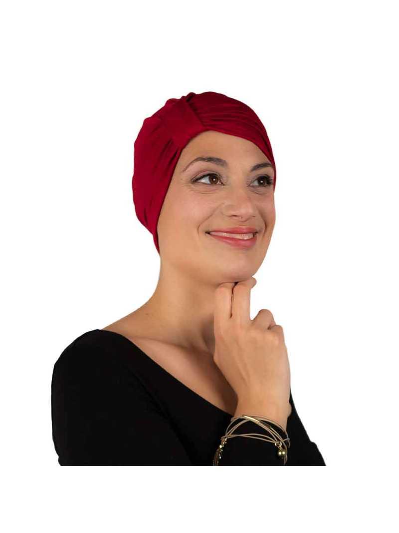 Bonnet de chimiothérapie Lou en bambou rouge