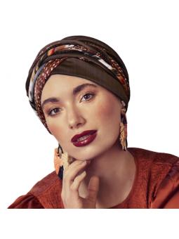 Set bonnet et bandeau amovibles chimiothérapie Scarlett Boho coloris Shiny brown