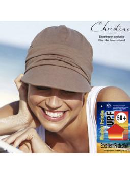 Casquette  chimiothérapie drapée solaire - Praline