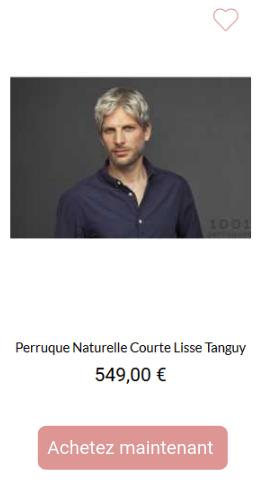 Perruque naturelle courte lisse Tanguy
