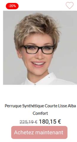 Perruque synthétique courte lisse alba comfort