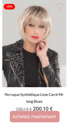 Perruque synthétique lisse carré mi-long Blues